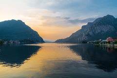 Lecco and lake Como (Lario) at sunset, Italy Royalty Free Stock Images