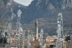 Lecco. A nice picture trough the water stock photos