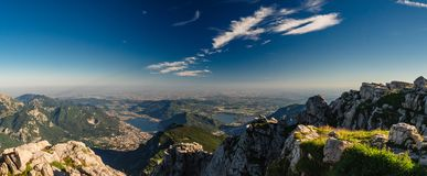 Lecco and Padan Plain. As seen from Grigna Meridionale in Lombardy, Italy Stock Image