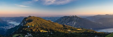 Lecco and Padan Plain. As seen from Grigna Meridionale in Lombardy, Italy Royalty Free Stock Images