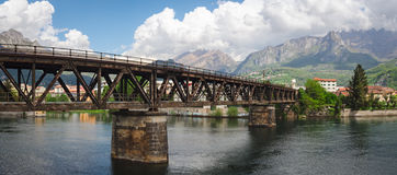 Lecco railway bridge on River Adda Royalty Free Stock Image