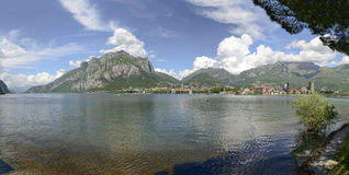 Lecco town and Como lake landscape from Malgrate, Italy stock image