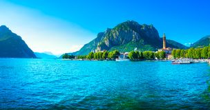 Lecco town, Como Lake panoramic landscape. Italy, Europe. Stock Image