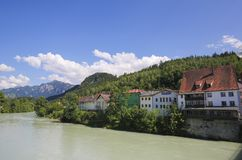 Lech River in Fussen in Baviera, Germania Immagini Stock Libere da Diritti