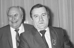 Lech Walesa and Norman Willis Royalty Free Stock Images