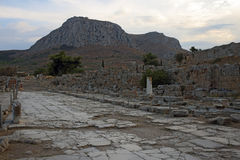 Lechaio road in Ancient Corinth, Greece. Ruins of Lechaio road in Ancient Corinth, Greece royalty free stock image