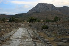 Lechaio road in Ancient Corinth, Greece. Ruins of Lechaio road in Ancient Corinth, Greece stock photography