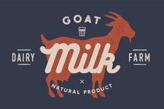 Leche, cabra Logotipo con la silueta de la cabra, leche del texto, granja lechera ilustración del vector
