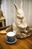 Leche con el conejo Fotos de archivo libres de regalías