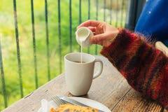 Leche de colada de la mujer en su té Fotografía de archivo
