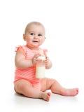 Leche de consumo del bebé de la botella Imagen de archivo libre de regalías