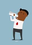 Leche de consumo del hombre de negocios de la botella Imagen de archivo