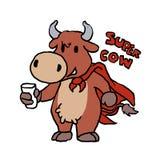 Leche de consumo de la vaca estupenda stock de ilustración