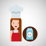 Leche de la caja de la muchacha de la cocina Foto de archivo