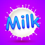 leche de la etiqueta Fotografía de archivo