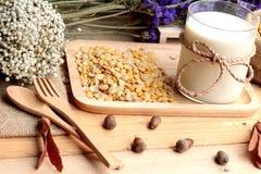 Leche de soja con las habas de soja Imágenes de archivo libres de regalías