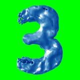 Leche del azul del número 3 Fotografía de archivo