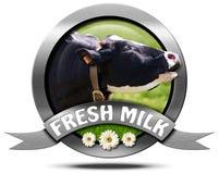 Leche fresca - icono del metal con la vaca Foto de archivo