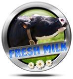 Leche fresca - icono del metal con la vaca Fotos de archivo libres de regalías