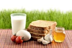 Leche, huevo, pan, tomates, ajo y miel Fotografía de archivo