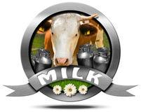 Leche - icono del metal con la vaca y las latas Imagen de archivo libre de regalías
