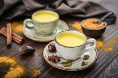 Leche india tradicional de la cúrcuma de la bebida fotografía de archivo libre de regalías