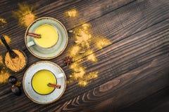 Leche india tradicional de la cúrcuma de la bebida imagen de archivo libre de regalías