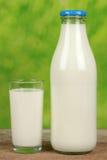 Leche orgánica en una botella Imagenes de archivo