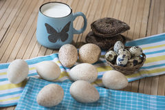 Leche, pan, huevos imagen de archivo