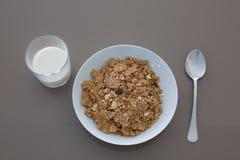 Leche y cereal Foto de archivo