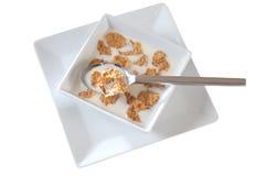 Leche y cereal. Aislado imagen de archivo libre de regalías
