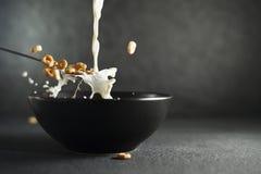 Leche y cereal que salpican fuera de la cuchara Foto de archivo
