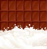 Leche y chocolate oscuro Foto de archivo