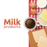 Leche y concepto de los productos lácteos Imágenes de archivo libres de regalías