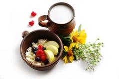 Leche y cuajada con las frutas del verano en cuencos de cerámica marrones imagenes de archivo