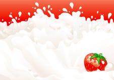Leche y fresas Foto de archivo libre de regalías