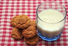 Leche y galletas Imagen de archivo libre de regalías