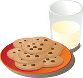 Leche y galletas Fotos de archivo