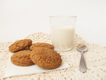 Leche y galletas Foto de archivo libre de regalías