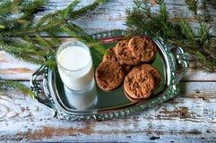 Leche y galletas para Santa Imágenes de archivo libres de regalías