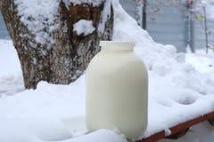 Leche y nieve Fotos de archivo