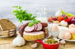 Lechería de la carne de los productos del ultramarinos de la variedad de la composición imagenes de archivo