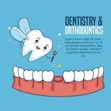 Lechería del diente y tratamiento de la higiene de la odontología stock de ilustración