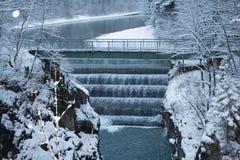 Lechfall i vintertid Fussen germany Arkivbild