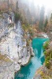 Lechfall siklawy w FÃ ¼ ssen, miasto na granicie między Austria i Niemcy zdjęcia royalty free