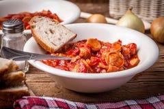 Lecho -炖煮的食物用胡椒、葱和香肠 库存图片
