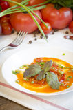 Lecho dämpfte Gemüsesalatpfeffer-Tomatenkarotte Stockbilder