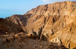 Lecho de un río seco Darga - colinas del mar muerto Fotos de archivo libres de regalías