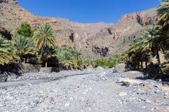 Lecho de un río seco de Nakhr - Omán foto de archivo libre de regalías