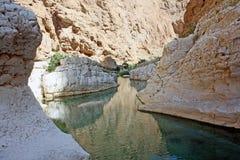 Lecho de un río seco-Shab, Oman#1: Trayectoria a la cueva subacuática secreta de Wadi Shab Foto de archivo